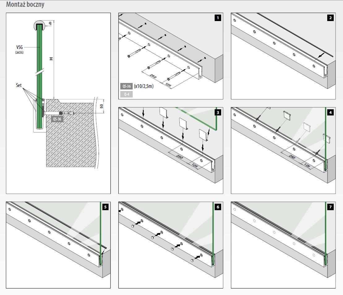Chłodny Profil montażowy szkła od 12 do 21,52mm, odcinek 2500 mm VR74