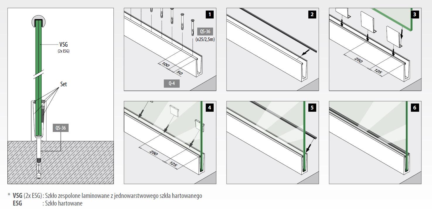 W Mega Profil montażowy szkła od 12 do 21,52mm, odcinek 2500 mm Easy TE88