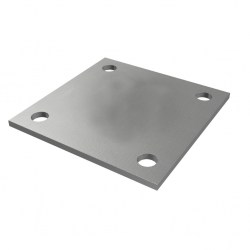 Plate 100 x 100 x 4 mm, with 4 holes Ø 10 mm, stainless steel AISI 304 raw