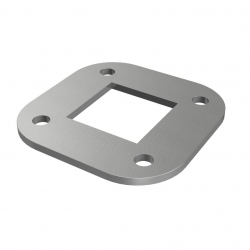 Plate 88 x 88 x 4 mm, with 4 holes Ø 10mm, stainless steel AISI 304 raw
