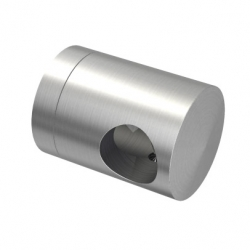 Connection crossbar holder for 12mm rod, flat back stainless steel AISI 304 satined