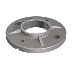 Welding flange, tube 42,4mm, round 100mm, stainless steel AISI 304 raw