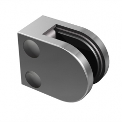 Flat glass clamp, stainless steel 316 satined, for square tube