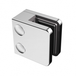 Glass clamp mod. 21, stainless steel 304 satined, for square tube